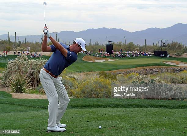 Harris English of USA plays a shot during the first round of the World Golf Championships Accenture Match Play Championship at The Golf Club at Dove...