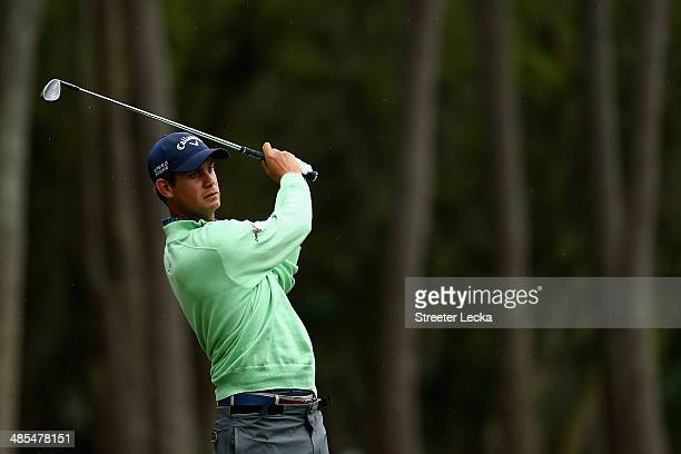 Harris English plays a shot on the 15th fairway during the second round of the RBC Heritage at Harbour Town Golf Links on April 18 2014 in Hilton...