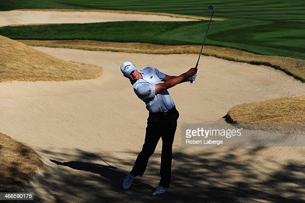 Harris English plays a shot on the 2nd hole during the final round of the Waste Management Phoenix Open at TPC Scottsdale on February 2 2014 in...