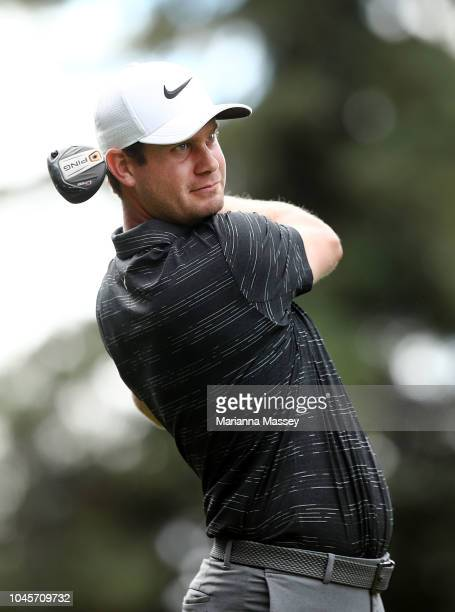 Harris English plays his shot from the 12th tee during round one of the Safeway Open at the North Course of the Silverado Resort and Spa on October 4...