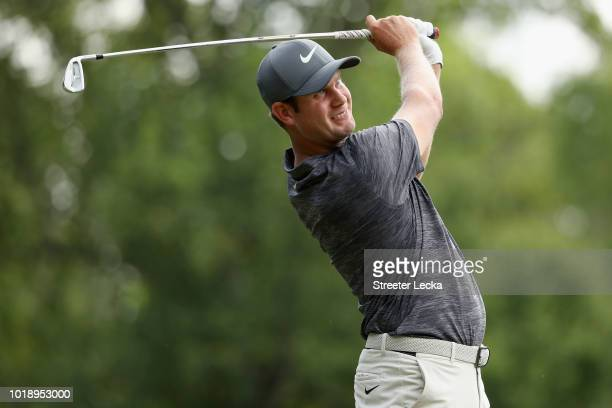 Harris English plays his shot from the seventh tee during the third round of the Wyndham Championship at Sedgefield Country Club on August 18 2018 in...