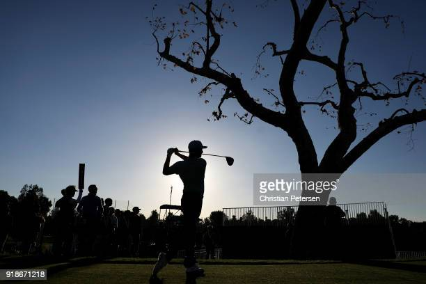 Harris English plays his shot from the third tee during the first round of the Genesis Open at Riviera Country Club on February 15, 2018 in Pacific...