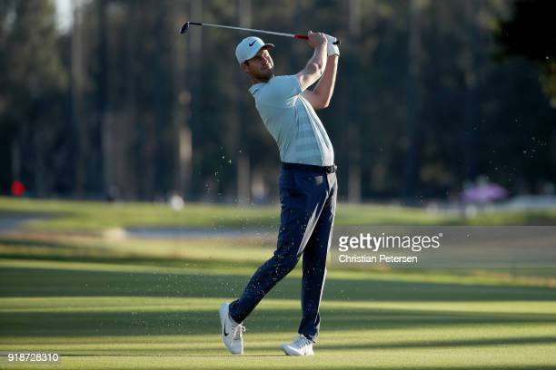Harris English plays his shot on the third hole during the first round of the Genesis Open at Riviera Country Club on February 15 2018 in Pacific...
