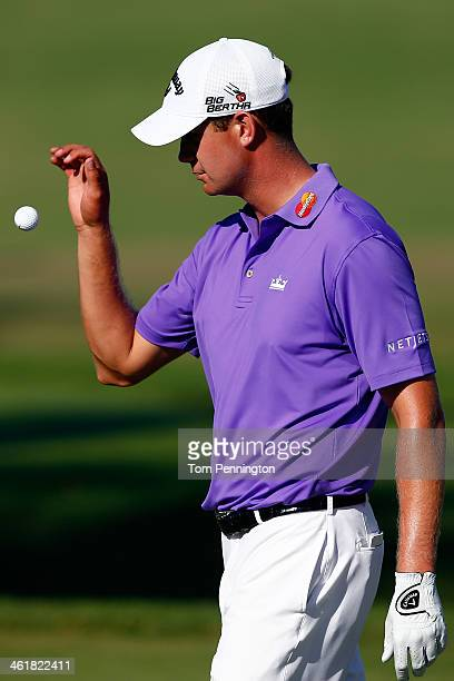 Harris English prepares to hit a shot on the first hole during the third round of the Sony Open in Hawaii at Waialae Country Club on January 11 2014...
