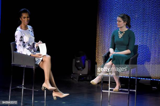 Harris Faulkner and Emily Kennedy speak on stage at the 2018 Women In The World Summit at Lincoln Center on April 13 2018 in New York City