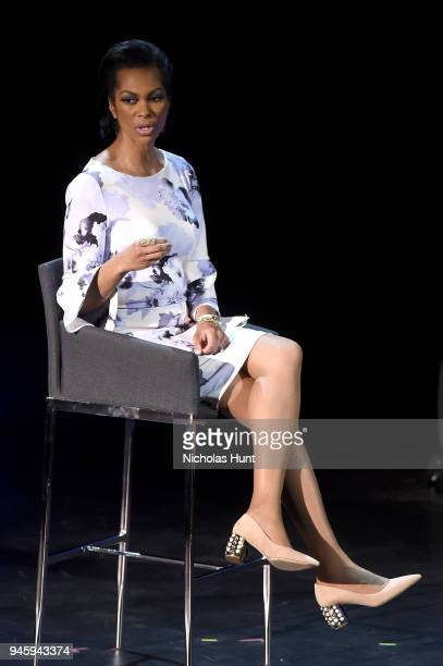 Harris Faulkner speaks on stage at the 2018 Women In The World Summit at Lincoln Center on April 13 2018 in New York City