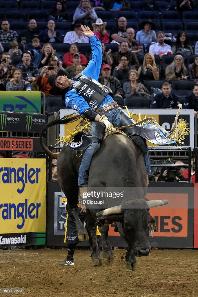 J.W. Harris rides during the 2017 Professional Bull Riders Monster Energy Buck Off at the Garden at Madison Square Garden on January 6, 2017 in New York City.