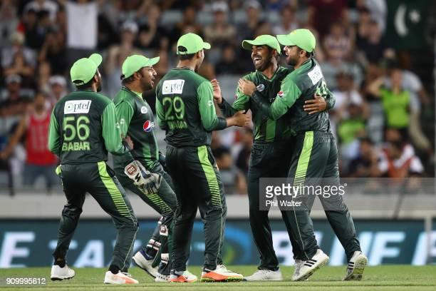 Harris Sohail of Pakistan celebrates his catch of Kane Williamson of the Blackcaps during the International Twenty20 match between New Zealand and...