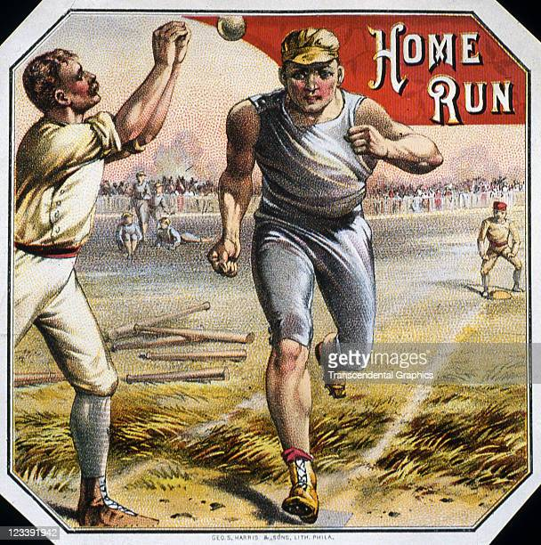 Harris Sons lithographers use an action baseball scene to decorate the cigar label entitled Home Run printed 1880s in Philadelphia Pennsylvania
