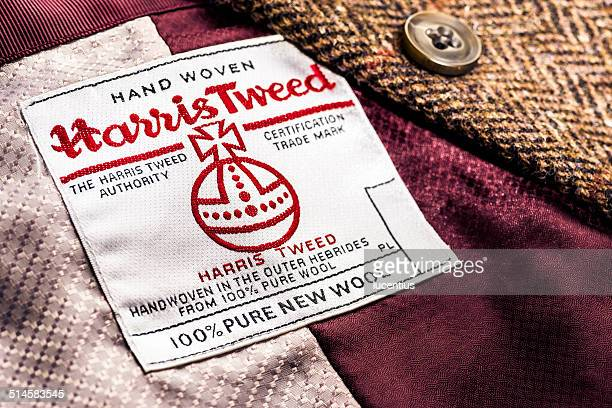 harris tweed label on jacket - tweed stock pictures, royalty-free photos & images