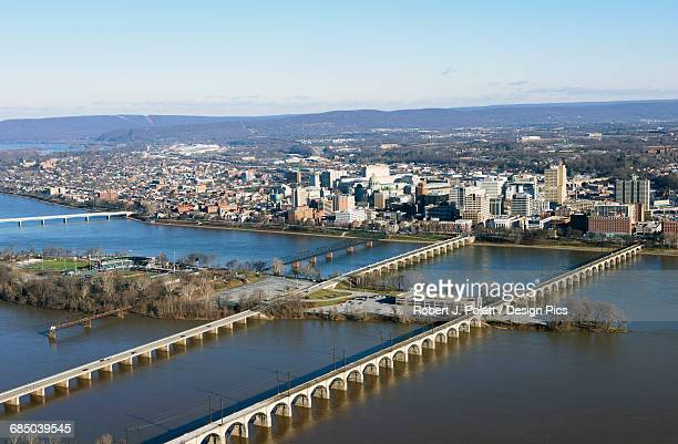 harrisburg cityscape from the air - harrisburg pennsylvania stock pictures, royalty-free photos & images