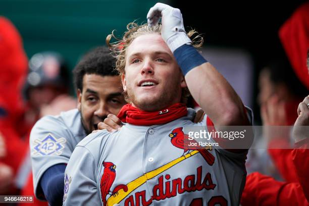 Harrison Bader of the St Louis Cardinals celebrates in the dugout after hitting a tworun home run in the second inning of the game against the...