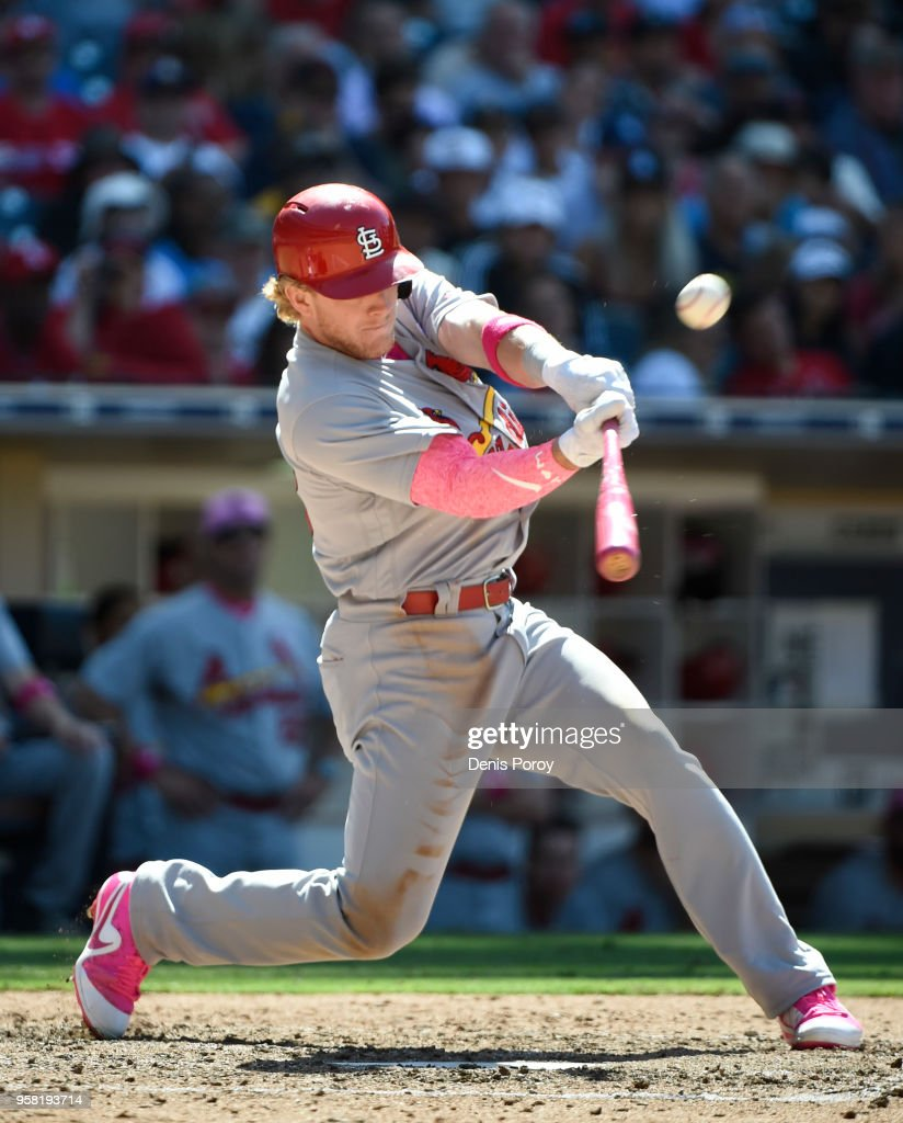 Harrison Bader #48 of the St. Louis Cardinals hits a solo home run during the ninth inning of a baseball game against the San Diego Padres at PETCO Park on May 13, 2018 in San Diego.