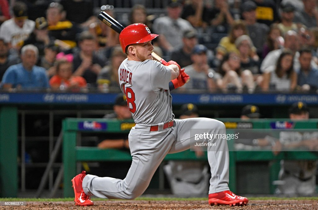 Harrison Bader #48 of the St. Louis Cardinals hits an RBI single in the sixth inning during the game against the Pittsburgh Pirates at PNC Park on September 23, 2017 in Pittsburgh, Pennsylvania.