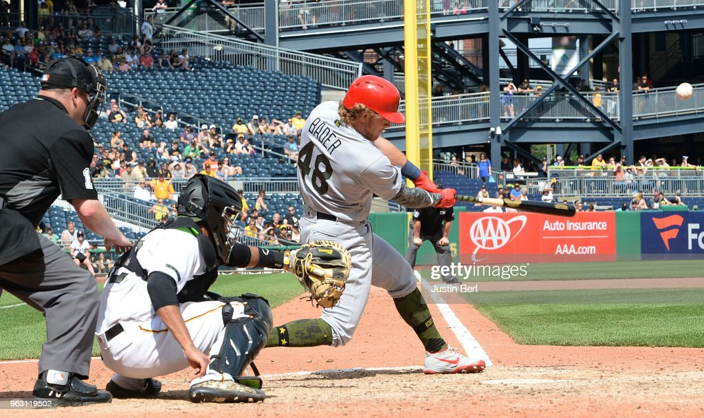 Harrison Bader #48 of the St. Louis Cardinals hits an RBI single to right field in the eighth inning during the game against the Pittsburgh Pirates at PNC Park on May 27, 2018 in Pittsburgh, Pennsylvania.