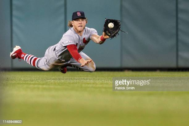 Harrison Bader of the St Louis Cardinals makes a catch for an out on a hit by Yan Gomes of the Washington Nationals during the seventh inning at...