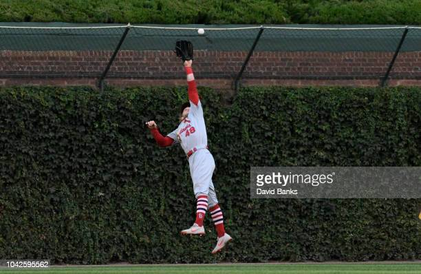Harrison Bader of the St Louis Cardinals makes a catch on Jason Heyward of the Chicago Cubs during the sixth inning on September 28 2018 at Wrigley...