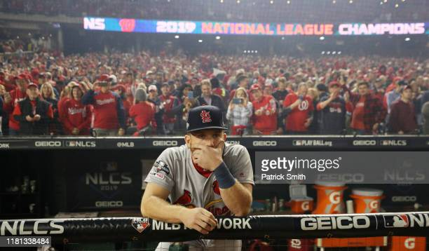 Harrison Bader of the St Louis Cardinals reacts after they lost game four and the National League Championship Series to the Washington Nationals at...