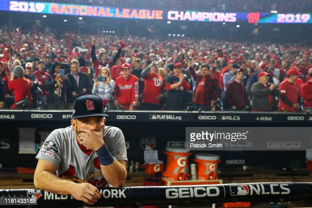 Harrison Bader of the St Louis Cardinals reacts losing in game four of the National League Championship Series to the Washington Nationals at...