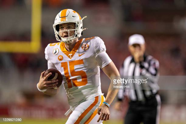 Harrison Bailey of the Tennessee Volunteers runs the ball in the fourth quarter of a game against the Arkansas Razorbacks at Razorback Stadium on...