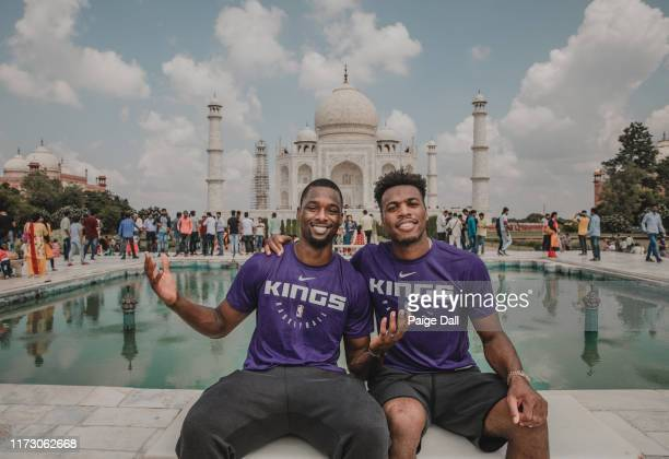 Harrison Barnes and Buddy Hield of the Sacramento Kings poses for a portrait at the Taj Mahal on October 2, 2019 in Agra, India. NOTE TO USER: User...