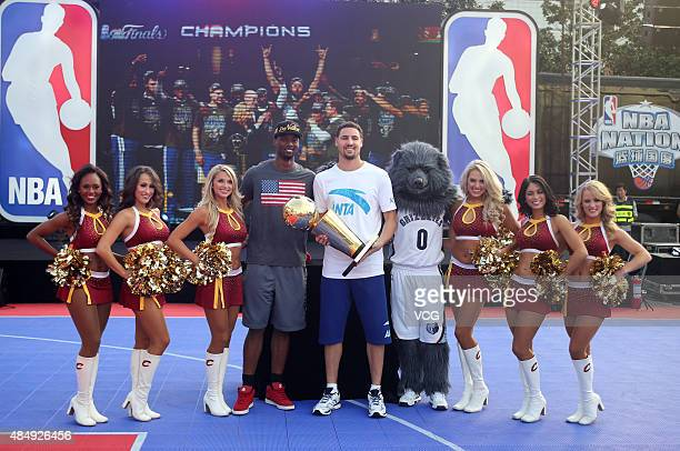 Harrison Barnes and Klay Thompson of the Golden State Warriors attend NBA Nation event at Wuhan International Conference and Exhibition Center on...