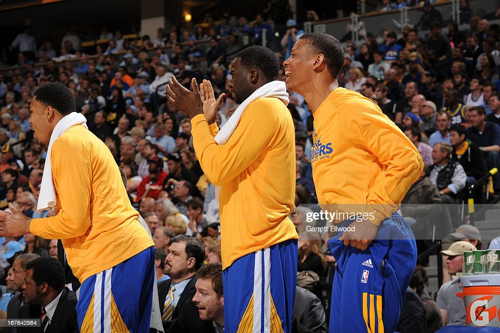 Harrison Barnes #40 and the Golden State Warriors bench celebrates a play in the game against the Denver Nuggets in Game Five of the Western Conference Quarterfinals during the 2013 NBA Playoffs on April 30, 2013 at the Pepsi Center in Denver, Colorado.