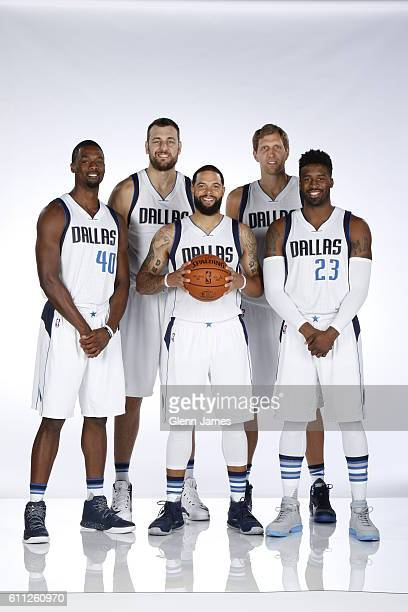 Harrison Barnes Andrew Bogut Deron Williams Dirk Nowitzki and Wesley Matthews of the Dallas Mavericks poses for a photo during the 20162019 Dallas...