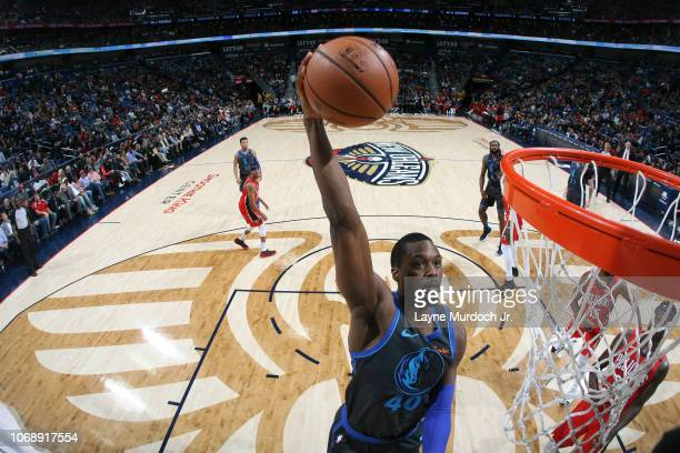 Harrison Barnes of the Dallas Mavericks dunks the ball against the New Orleans Pelicans on December 5 2018 at the Smoothie King Center in New Orleans...