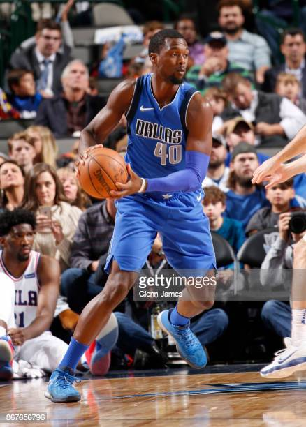 Harrison Barnes of the Dallas Mavericks handles the ball against the Philadelphia 76ers on October 28 2017 at the American Airlines Center in Dallas...