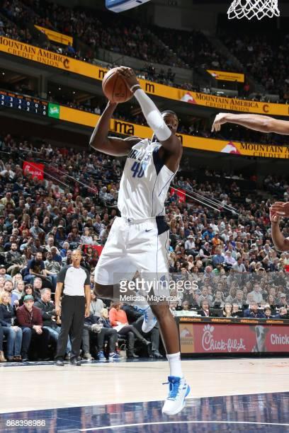 Harrison Barnes of the Dallas Mavericks handles the ball against the Utah Jazz on October 30 2017 at Vivint Smart Home Arena in Salt Lake City Utah...