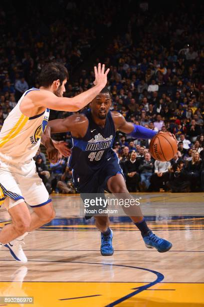 Harrison Barnes of the Dallas Mavericks handles the ball against the Golden State Warriors on December 14 2017 at ORACLE Arena in Oakland California...