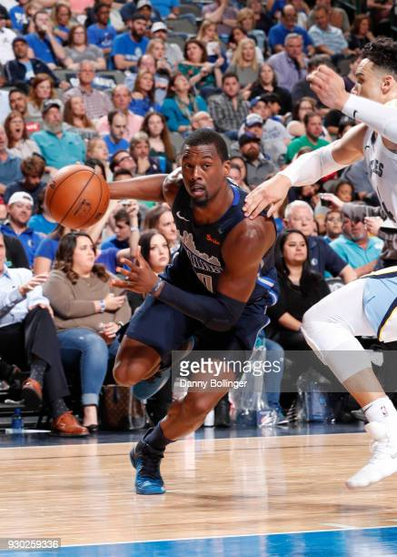 Harrison Barnes of the Dallas Mavericks handles the ball against the Memphis Grizzlies on March 10 2018 at the American Airlines Center in Dallas...