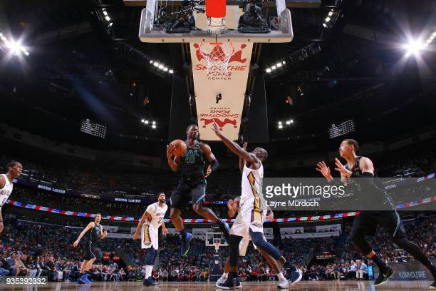 Harrison Barnes of the Dallas Mavericks handles the ball against the New Orleans Pelicans on March 20 2018 at the Smoothie King Center in New Orleans...