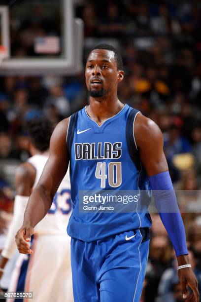 Harrison Barnes of the Dallas Mavericks looks on during the game against the Philadelphia 76ers on October 28 2017 at the American Airlines Center in...