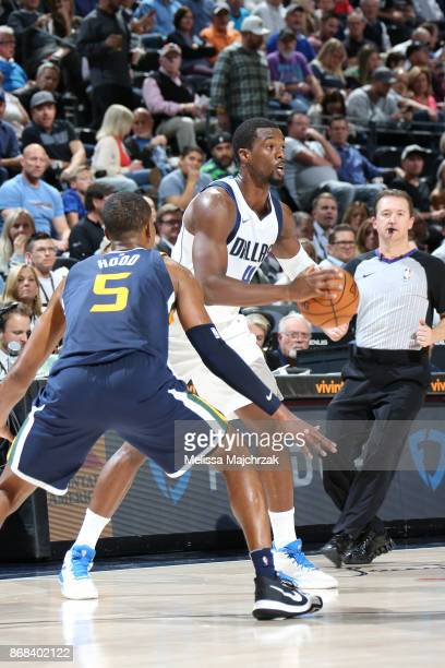 Harrison Barnes of the Dallas Mavericks passes the ball against the Utah Jazz on October 30 2017 at Vivint Smart Home Arena in Salt Lake City Utah...