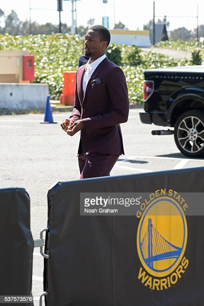 Harrison Barnes of the Golden State Warriors arrives before Game Five of the Western Conference Finals against the Oklahoma City Thunder during the...