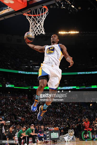 Harrison Barnes of the Golden State Warriors attempts a dunk during the Sprite Slam Dunk Contest on State Farm AllStar Saturday Night as part of the...