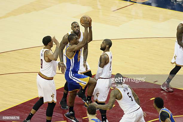 Harrison Barnes of the Golden State Warriors drives to the basket against the Cleveland Cavaliers in Game Three of the 2016 NBA Finals on June 8 2016...