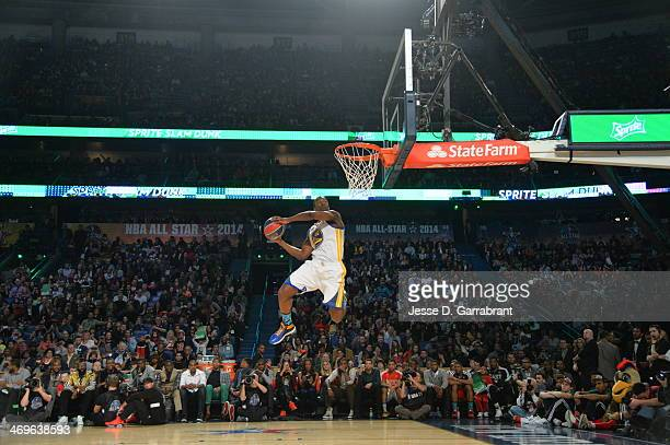 Harrison Barnes of the Golden State Warriors dunks the ball during the Sprite Slam Dunk Contest on State Farm AllStar Saturday Night as part of the...