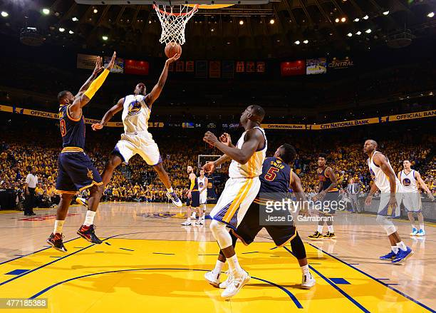 Harrison Barnes of the Golden State Warriors goes up for the shot against the Cleveland Cavaliers at the Oracle Arena During Game Five of the 2015...