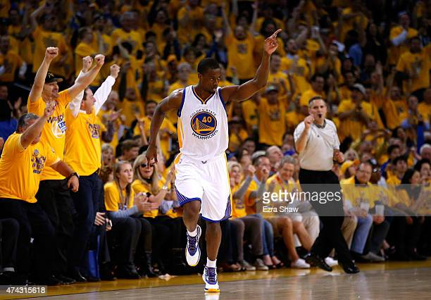 Harrison Barnes of the Golden State Warriors reacts after a play in the second quarter against the Houston Rockets during game two of the Western...