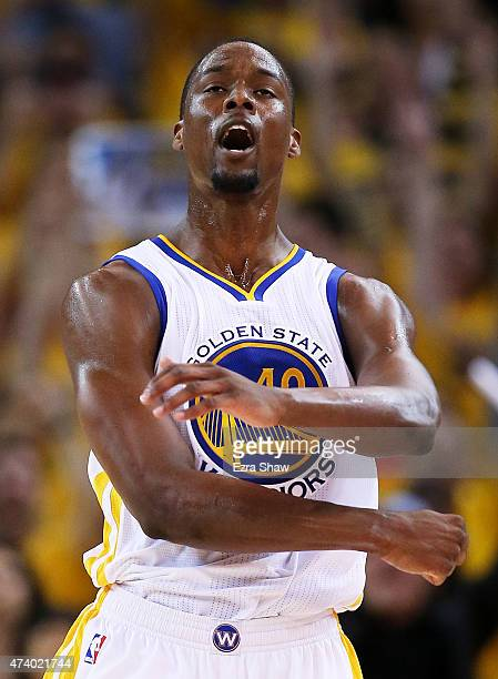 Harrison Barnes of the Golden State Warriors reacts in the second quarter against the Houston Rockets during Game One of the Western Conference...