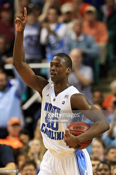 Harrison Barnes of the North Carolina Tar Heels celebrates their 9287 win over the Clemson Tigers during overtime in the semifinals of the 2011 ACC...