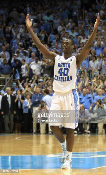 Harrison Barnes of the North Carolina Tar Heels celebrates winning the ACC Regular Season Championship as they defeated the Duke Blue Devils 8167 at...