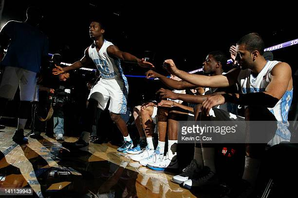 Harrison Barnes of the North Carolina Tar Heels greets his teammates during introductions against the Florida State Seminoles during the Final Game...