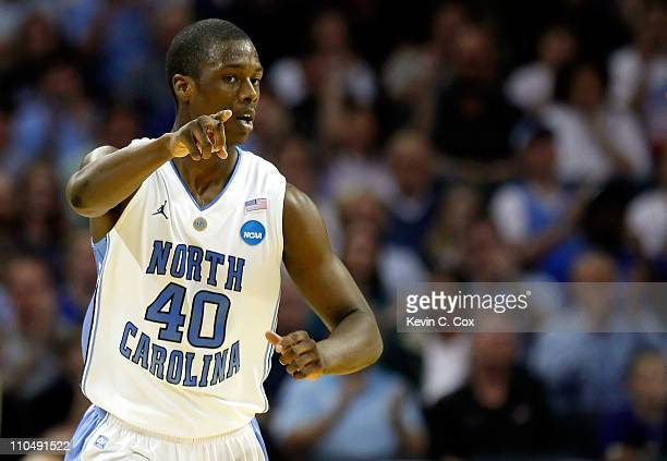 Harrison Barnes of the North Carolina Tar Heels reacts in the first half while taking on the Washington Huskies during the third round of the 2011...