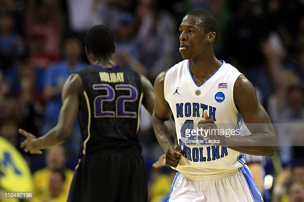 Harrison Barnes of the North Carolina Tar Heels reacts in the second half while taking on the Washington Huskies during the third round of the 2011...