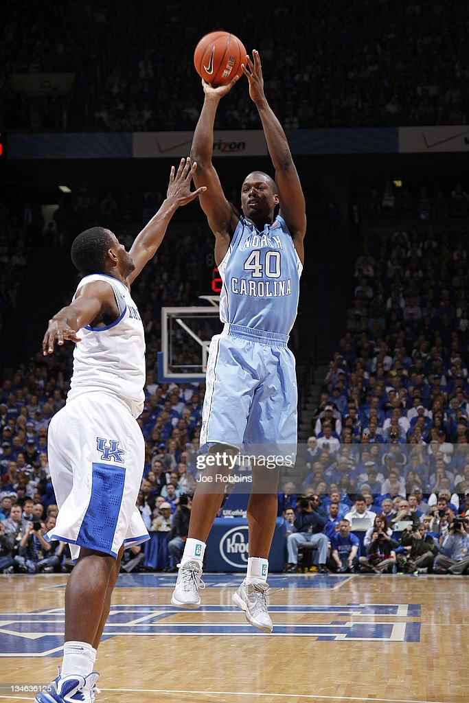 Harrison Barnes #40 of the North Carolina Tar Heels shoots against the Kentucky Wildcats during first half action at Rupp Arena on December 3, 2011 in Lexington, Kentucky.