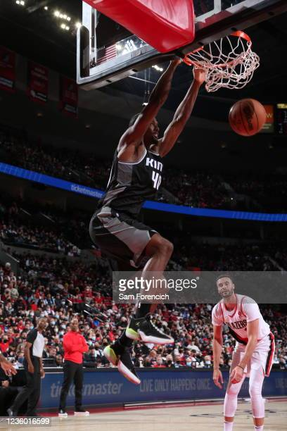 Harrison Barnes of the Sacramento Kings dunks the ball during the game against the Portland Trail Blazers on October 20, 2021 at the Moda Center...